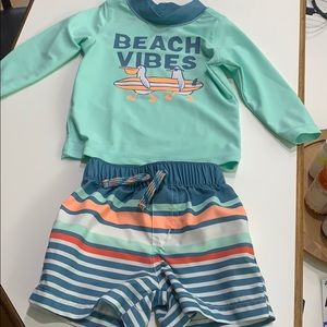 Beach Vibes Carter's swim shirt and  trunks 6 mo